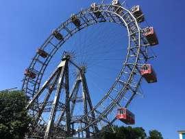 Das Riesenrad vor strahlend blauem Himmel