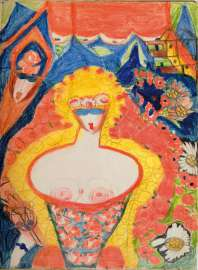 Aloïse Corbaz Brevario Grimani,um1950 (Ausschnitt) Buntstift auf Papier abcd / Bruno Decharme collection