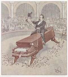 Alfred Grünfeld auf einem »Vollblut-Bösendorfer Imperial« die hohe Schule reitend (Druck E. M. Engel, Wien, 1907).