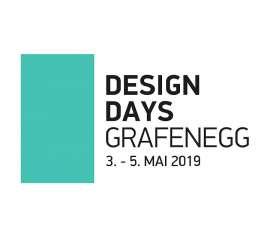 Logo der Design Days Grafenegg 2019, links ein vertikales Rechteck in türkis, daneben Schriftzug mit Datum