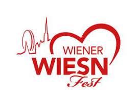 Wiener Wiesn-Fest logo roter Schriftzug mit Herz, links dahinter stilisierter Stefansturm