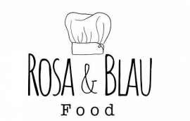 Logo Rosa & Blau Food Schriftzug mit Kochmütze