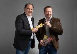 Sorger-Firmenchef Ferdinand Sorger mit neuem Testimonial Robert Kratky samt Kostproben