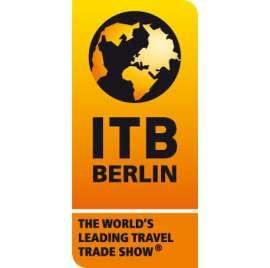 ITB Berlin logo mit stilisiertem Globus auf gelbem Hintergrund