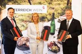 v.l.n.r.: Johannes Schmuckenschlager (Präsident Österreichischer Weinbauverband), Susanne Ertler-Staggl (Projektleitung ÖWM), Chris Yorke (Geschäftsführung ÖWM) bei der Online-PK