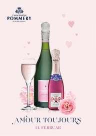 Ein Glas, daneben je eine Flasche Pommery Rose und POP Rose, darunter die Worte 'Amour Toujours