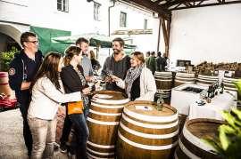 Eine Gruppe junger Leute verkostet im Freien Wein