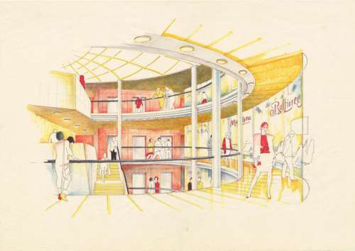 Hans Hollein, Haas-Haus, Wien, AT, 1985-1990, Skizze Atrium