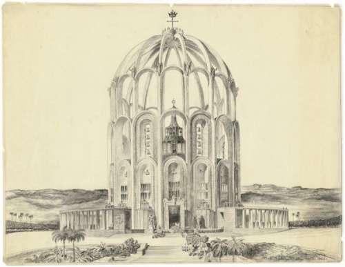 Clemens Holzmeister: Perspektivansicht der Kathedrale von Belo Horizonte,1942, 1948 und 1950 Kohle