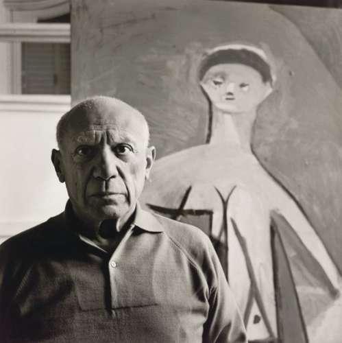 """Franz Hubmann: Pablo Picasso in seiner Villa """"La Californie"""" bei Cannes, 1957"""