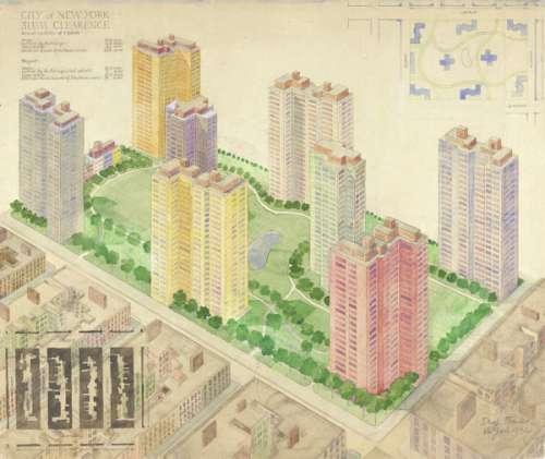 Anton Franck: Vogelperspektive und Lageplan zum Projekt Slum Clearance in Manhattan, New York,1942 Bleistift, aquarelliert