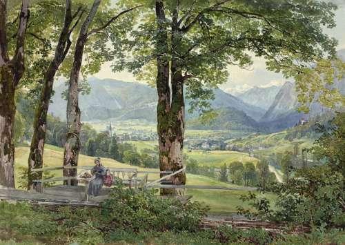 Joseph Höger Blick auf Ischl vom Sophienplatz, um 1836 Aquarell