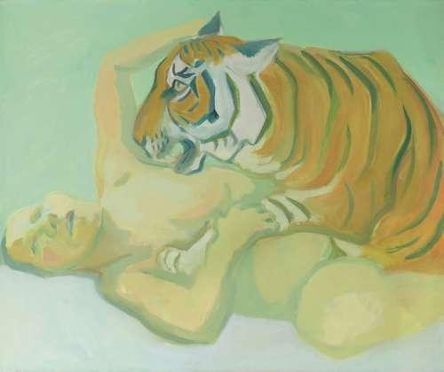 Lassnig: Mit einem Tiger schlafen 1975