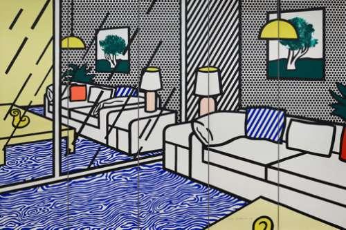 Roy Lichtenstein: Wallpaper with blue Floor Interior, 1992