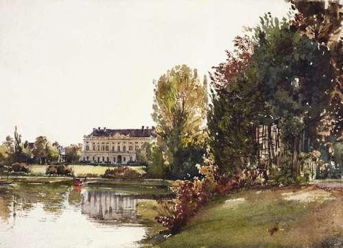 Rudolf von Alt Ansicht von Schloss Eisgrub vor dem neugotischen Umbau, um 1830 Aquarell