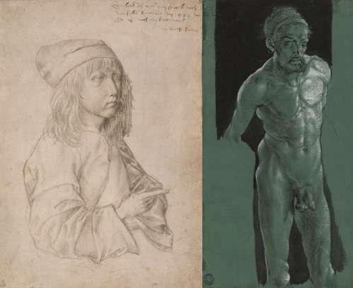 Albrecht Dürer Selbstbildnis als Dreizehnjähriger, 1484 - Albrecht Dürer Selbstbildnis als Akt, um 1499