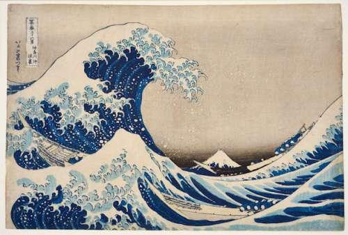 Kasushika Hokusai - 36 Ansichten des Berges Fuji: Unter der Welle bei Kanagawa, um 1830