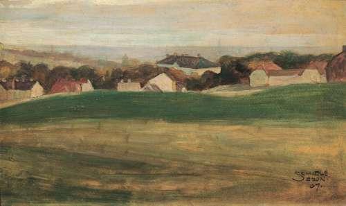 Egon Schiele Wiesenlandschaft mit Häusern, 1907