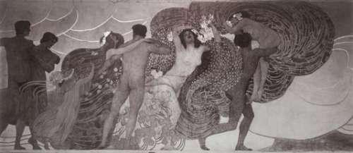 Moriz Nähr, Josef Maria Auchentallers Wandgemälde Freude, schöner Götterfunken für die XIV. Ausstellung der Wiener Secession (Ausschnitt), 1902