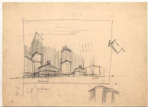 Adolf Loos, Verbauung der Gartenbaugründe, Wien I., Parkring, Entwurf in Schrägansicht, 1917