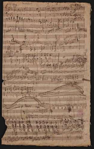 Musikhandschrift von L.v.Beethoven mit dem neu gefundenen Stück - Enthält weiters den Entwurf zum Lied 'An Henrietten' (Ludwig Christoph Heinrich Hölty) Unv 21, Andante für Klavier WoO 211 und weitere nicht identifizierte Instrumentalskizzen