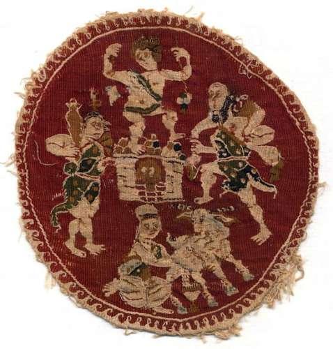Textiles Medaillon mit Kelterszene; Textilbild Bastfaser (Leinen?), Wolle Ägypten, 4. – 5. Jh. n. Chr.