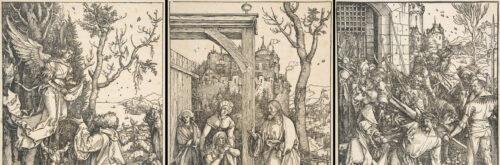 Ausschnitte aus dem Marienleben (links und Mitte) bzw. der Großen Passion (rechts). Albrecht Dürer & Benedictus Chelidonius: Epitome in Divae Parthenices Mariae historiam bzw. Dies.: Passio domini nostri Jesu (beide Nürnberg, 1511)