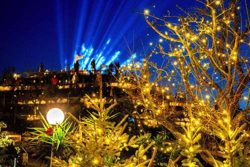 Abendstimmung inm Adventzauber in der Kittenberger Erlebnisgärten