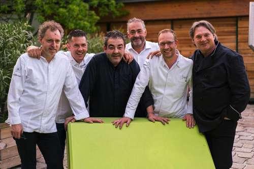 Gruppenbild mit Sternen-Amador&Friends: Sven Elverfeld, Jacob Jan Boerma, Juan Amador, Hans Reisetbauer, Nils Henkel, Heinz Hanner (v.l.)