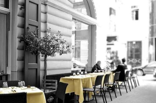 Der schattige Schanigarten des Ristorante Procacci in der Wiener Innenstadt