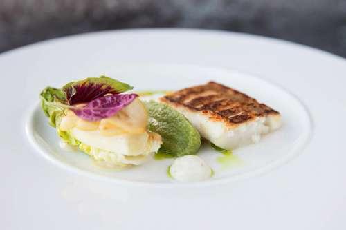 Fine Dining by Roman Wurzer: Gebratener Kabeljau, geschmorte Salatherzen, Zitronen-Dashi-Sud, Dillbroccolicreme