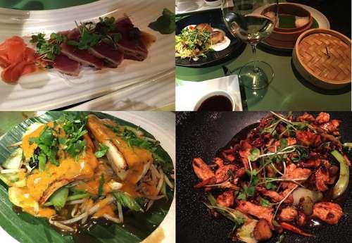 Speisenbeispiele, von oben links im Uhrzeigersinn Tuna Tataki, Shanghainese Moon Cake und Har Gau, Kung Pao Chicken, Thai Seabass Curry