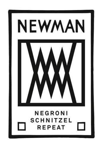 Newman Logo mit Symbol und darunter Schriftzug 'Negroni, Schnitzel, repeat