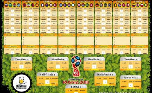 Spielplan der Fussball-WM 2018 in Rusland