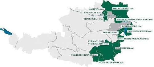 Österreichkarte mit allen bisher definierten DACs