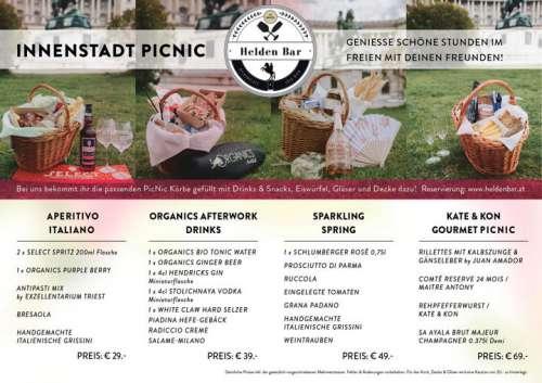 Flyer mit vier Beispiel-Picknickkörben inklusive Photo, Inhalt und Preis