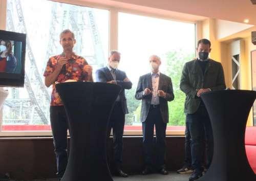 Pressekonferenz zum COVID-19 Präventionskonzept für die Pratersaison 2021: vlnr. Dr.Hutter, Stefan Sittler-Koidl, Karl Jan Kolarik und Michael Prohaska