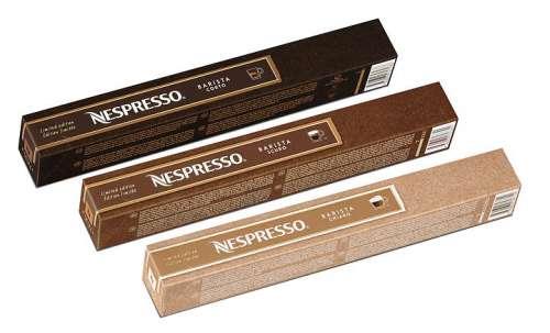 Je eine Schleife der drei neuen Limited Edition Barista Sorten von Nespresso: Corto, Scuro, Chirao
