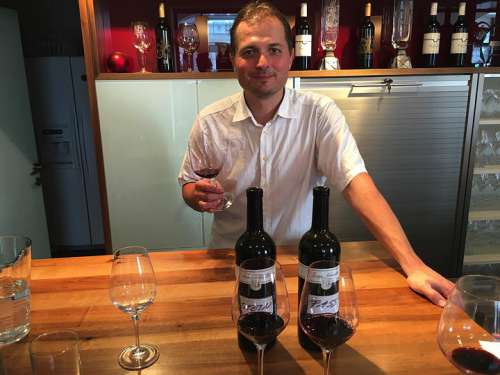 Ferry Schindler im Verkostungsraum, vor ihm zwei Flaschen 'Stein' und 'Holz', davor Gläser mit Rotwein