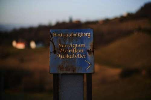 EIn Webweiser mit der Aufschrift Hochgrassnitzberg: Sauvignon, Morillon, Muskateller